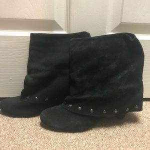 Naughty Monkey wedge foldover boots, size 9